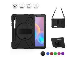 Samsung Galaxy Tab S6 Case [Support S Pen Wireless Charging] Hybrid Heavy Duty Shockproof Case with Pen Holder Hand Strap / Shoulder Strap / Kickstand for Galaxy Tab S6 10.5 2019 SM-T860 / T865 / T867