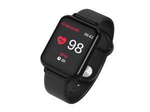Smart Watch Blood Pressure Men With Heart Rate Monitor Waterproof Smart Wristwatch Pedometer Fitness Activity Tracker (Color: Black )