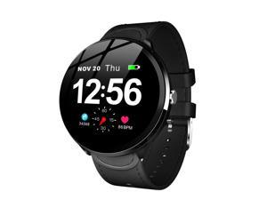 Smart Watch Men 1.3'' IPS Screen Bluetooth 4.0 Fitness Bracelet Tracker Heart Rate Monitor IP67 Waterproof Wristwatch (Color: Black)