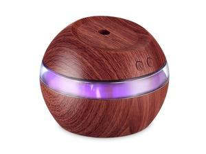 290ml Cool Mist Humidifier Ultrasonic Aroma Essential Oil Diffuser Wood Grain w/LED Light for Office Home Room Vehicle Study Yoga Spa