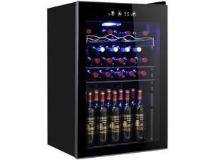 Tavata Wine Cooler- 24 Bottle Freestanding Single Zone Fridge and Cellar Chiller for Red and White Wine, Quiet Wine Refrigerator with UV Protection Glass Door,Compressor Refrigeration for Counter Top