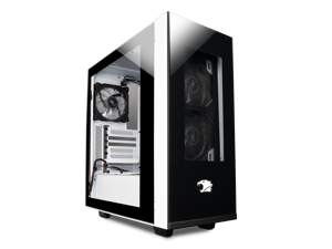 iBUYPOWER Snowblind Element Gaming Case - Black/White with LCD Side Panel - Case Only