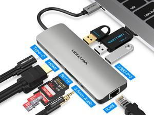 Vention USB C Hub,9-In-1 USB C Adapter with 4K USB C to HDMI, 3 USB 3.0 Ports, SD/TF Card Reader, USB-C Power Delivery,RJ45 Ethernet Port ,3.5mm Audio Port for MacBook Pro,Chromebook,and More (Grey)