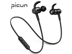 Picun H10 Bluetooth Headphones 10 Hrs Battery, HiFi Stereo Wireless Sports Earphones with Noise Reduction Mic, IPX6 Waterproof Nano-Coating Magnetic Earbuds Secure Fit for Running Gym Workout (Black)