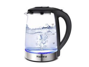 Topwit Electric Kettle Water Heater Boiler, Glass Cordless Tea Kettle 2 Liter with LED Light, Stainless Steel Inner Lid and Bottom, Fast Heating with Auto Shut-Off and Boil Dry Protection