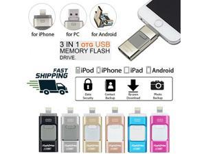 Flash Drive USB Memory Stick HD USB 2.0 Disk 3 in 1 For IOS iPhone Android PC OTG 8GB/16GB/32GB/64GB/128GB
