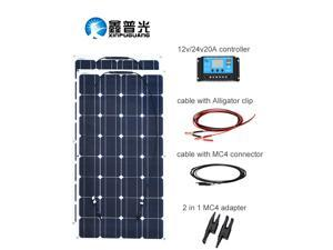 XINPUGUANG 200w 12v Solar System Kit 2X 100W 18v Flexible Solar Panel Photovoltaic Module 12 volt/24 v Solar Controller Cable for home RV Boat Yacht Caravan energy Charging