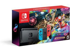 Nintendo Switch with Mario Kart 8 Deluxe Console Bundle - Neon Blue/Red