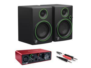 "Mackie CR3 3"" Woofer Creative Reference Multimedia Monitors (Pair) with Focusrite Scarlett Solo 3rd Gen USB Audio Interface & 1/4"" Male Insert Y-Cable 3.3' Bundle"