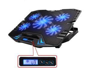 Refroidisseur pour ordinateur portable TopMate C5 12-15,6 pouces, cinq ventilateurs et écran LCD, vitesse du vent élevée de 2500 tr / min conçue pour les joueurs et le bureau