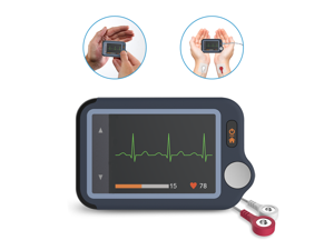 Wellue ECG/EKG Monitor Pulsebit EX with 30s/60s/5min Trace Recording, Heart Rate Monitor Device Free APP & PC Software, Cable & Cable Free Operation