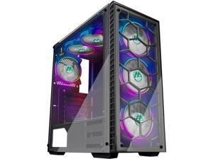 MUSETEX Phantom Black ATX Mid-Tower Desktop Computer Gaming Case with 6pcs 120mm LED RGB Fans Pre-Installed USB 3.0 Ports Tempered Glass Windows (903-S6)