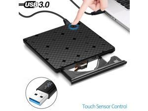 USB 3.0 Touch Control External Drive DVD-ROM CD-RW DVD-RW Burner Player Portable Reader Slim for Windows XP/7/8/10 Laptop MAC OS