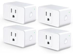[4 Pack]  meross WiFi Smart Plug Mini, 16 Amp & Reliable Wifi Connection Powered by Mediatek Chipset, Alexa and Google Voice Control, App Remote Control, Timer, Occupies Only One Socket, No Hub Needed