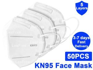50PCS N95 KN95 Face Mask, 5 layer Anti Pollution Earloop Face Masks for Personal Protective Respirator Reusable, Work Mask
