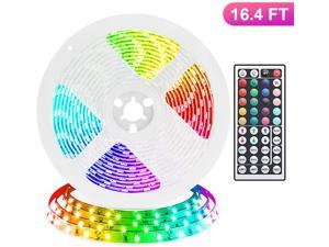 LED Strip Lights, 16.4ft RGB LED Light Strip 5050 LED Tape Lights, Color Changing LED Strip Lights with Remote for Home Lighting Kitchen Bed Flexible Strip Lights for Bar Home Decoration