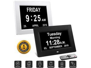 3 Alarms Dementia Clock, 2 Auto-Dim Options, Large Display Digital Calendar Day Clock for Vision Impaired, Elderly, Memory Loss, Black, SDC008W