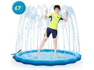"Sprinkle & Splash Play Mat 67"" Sprinkler for Kids Outdoor Inflatable Water Toys Fun for 1 2 3 4 5 6 7 8 Years Old Toddlers Boys Girls Children Summer Party Sprinkler Pool"