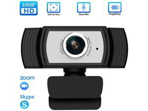 1080P Webcam with Microphone, TROPRO HD PC Desktop Computer MF Web Cam with 180° Ajustable Clip, 360°Rotatable USB Smart TV Web Camera for Skype, Live Steam, Video Chat, Recording, Conferencing