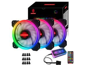 RGB Series Case Fans 120mm with Remote Controller Fan Hub and Extension, COOLMOON Quiet Edition High Airflow Adjustable Colorful PC Case CPU Computer Cooling with Coolers, Radiators System (3pcs)