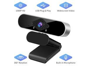 TROPRO Full HD 1080p Webcam, Webcam with Microphone Streaming Computer Web Cam for Pc Laptop Desktop 360 Degree Rotation Computer Camera Highly Compatible with Win10/8/8.1/7/XP Linux Mac