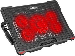 AICHESON Laptop Cooling Pad 5 Fans jusqu'à 17,3 pouces Refroidisseur de portable lourd, Lumières LED bleues, 2 ports USB, S035, Blue-5fans
