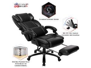 Big and Tall Reclining Office Chair - High Back Executive Computer Desk Chair with Adjustable Built-in Lumbar Support, Angle Recline Locking System and Footrest, Thick Padding for Comfort