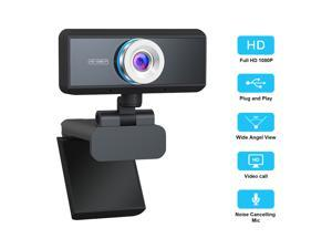 1080P Webcam Full HD USB Webcam with Microphone Widescreen Video Calling and Recording Camera Manual Focus 1080P Webcam for Laptop Skype PC Windows 10