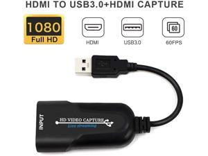 HDMI to USB3.0 Video Capture Card 1080P 60fp HDMI to USB Adaptor HD Game Capture HDMI to USB3.0 Replacement Part Stream Record Monitor Video Capture Card Plug and Play for Live Broadcasts/Game/Video
