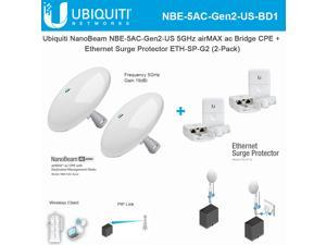 Ubiquiti NanoBeam ac Gen2 NBE-5AC-Gen2-US 5GHz High-Performance airMAX ac Bridge CPE (2-Pack) with Ethernet Surge Protector Gen 2 ETH-SP-G2 for Outdoor High-Speed Networks (2-Pack)