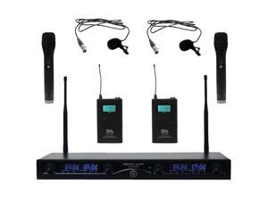 Seismic Audio - SA-U4HHLV5 - 4 Channel Professional UHF Wireless Microphone System with 2 Handheld and 2 Lavalier Microphones, Adjustable Frequencies