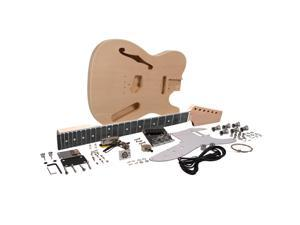 Seismic Audio - SADIYG-06 - Premium DIY Tele Style Semi-Hollow Electric Guitar Kit with F Hole - Unfinished Luthier Project Guitar Kit