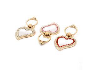 Metal Heart Shape Mirror Rhinestone Finger Ring Stand Holder 3pcs for Phone
