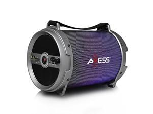 "axess spbl1046 portable bluetooth 2.1 led lit hifi cylinder loud speaker with builtin 6"" sub and sd card, usb, aux, 2 microphone inputs in silver"
