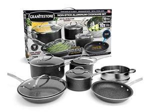 granitestone 10 piece cookware set, scratchproof, nonstick granitecoated, pfoafree as seen on tv