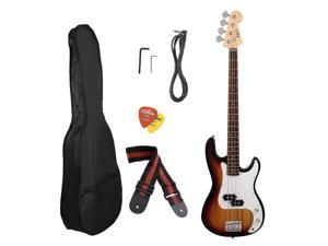 Professional 5 Color Optional Universal Electric Bass Guitar Maple Wood Body And Neck With Portable Carried Bag
