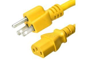 Ironbox 5-15 to C13 Connector Power Cord - Yellow - 4 Foot - 15A/250V - 14/3 SJT - IBX-2821-04