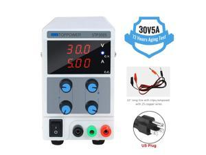 30V 5A DC Power Supply Variable, Adjustable Switching Regulated Power Supply Digital, with Alligator Leads US Power Cord for Spectrophotometer and lab Equipment Repair