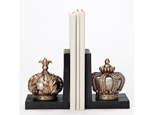Set of 2 Gold Colored Distress Finish Crown Bookends 7.75""