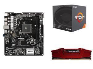 AMD RYZEN 3 1200 4-Core 3.1 GHz (3.4 GHz Turbo) Processor, ASRock AB350M  AM4 AMD Promontory B350 SATA 6Gb/s USB 3.0 Micro ATX AMD Motherboard, ...