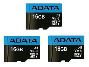 3 Pack ADATA AUSDH16GUICL10A1-RA1 16GB UHS-I / Class 10 566x MicroSDHC Memory Card