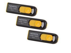 3-Pack ADATA DashDrive UV128 32GB USB 3.0 Flash Drive (Black / Yellow)