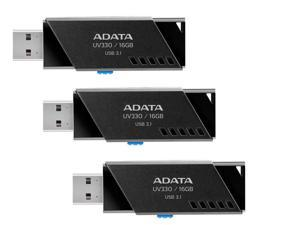 3-Pack ADATA AUV330-16G-RBK 16GB USB 3.1 Flash Drive