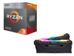 AMD RYZEN 3 3200G 4-Core 3 6 GHz (4 0 GHz Max Boost) Socket AM4 65W  YD3200C5FHBOX Desktop Processor, CORSAIR Vengeance RGB Pro 16GB (2 x 8GB)  288-Pin