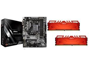 ASRock B450M PRO4 AM4 Micro ATX AMD Motherboard + OLOy 32GB (2 x 16GB) DDR4 3600 (PC4 28800) Desktop Memory Model MD4U1636181CHRDA