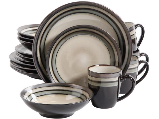 Gibson Elite107144.16 Lewisville 16 Piece Dinnerware Set, Gray photo