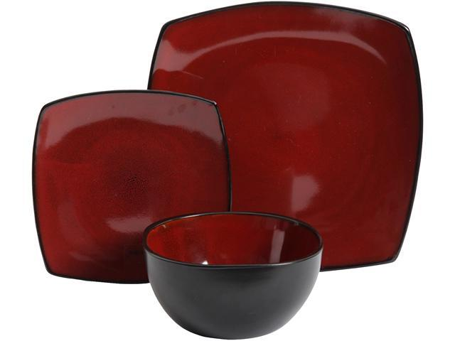 Gibson Soho Lounge 12-Piece Soft Square Dinnerware Set in Red, 116851.12 photo
