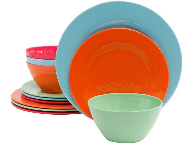 Gibson Brist 12 Piece Melamine Dinnerware Set, Assorted Colors photo