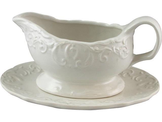 Gibson 116996.02 Royal Abbey 18 oz. Embossed Durastone Gravy Boat with Saucer, White photo