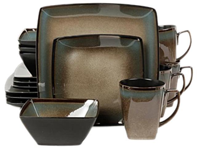 Gibson Elite Tequesta 16 Piece Square Dinnerware Set, Taupe photo